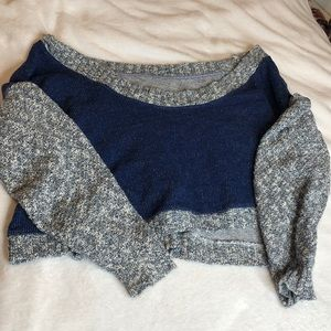 Gray and blue cropped off the shoulder sweater